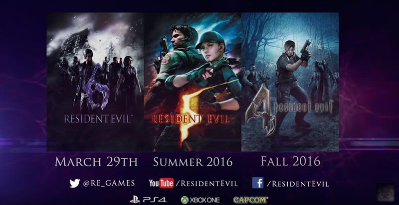 resident evil 4,5,6 remaster ps4 et xbox one