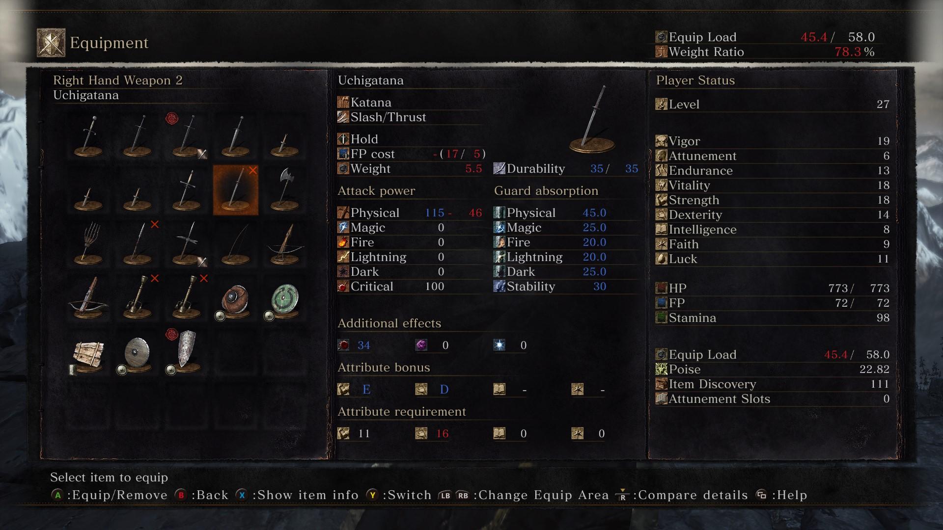 statistique uchigatana dark souls 3