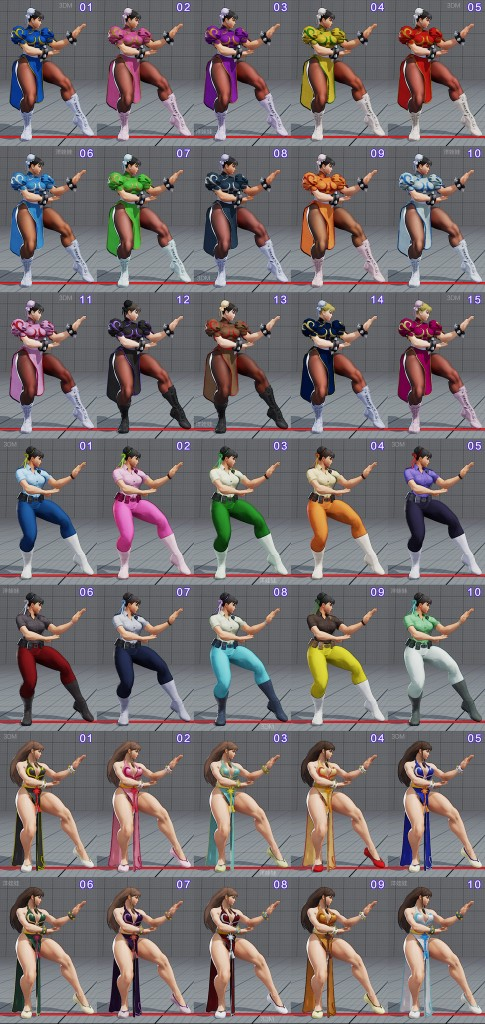 street fighter 5 costumes et couleurs 01