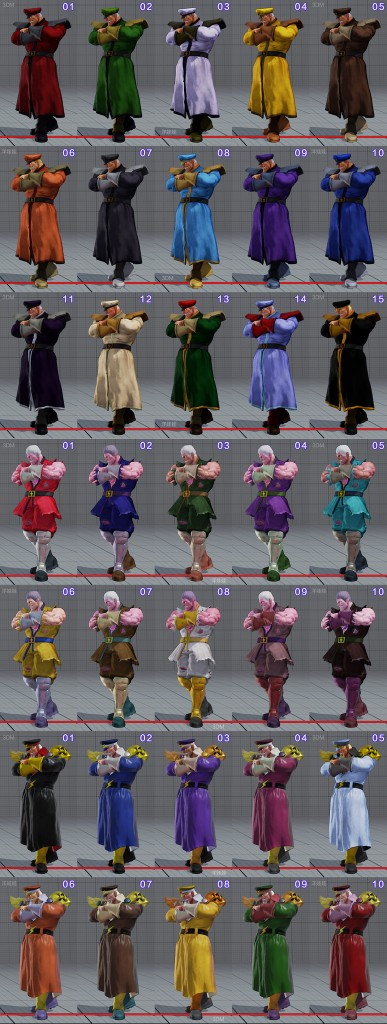 street fighter 5 costumes et couleurs 02
