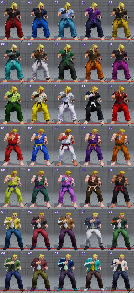 street fighter 5 costumes et couleurs 12