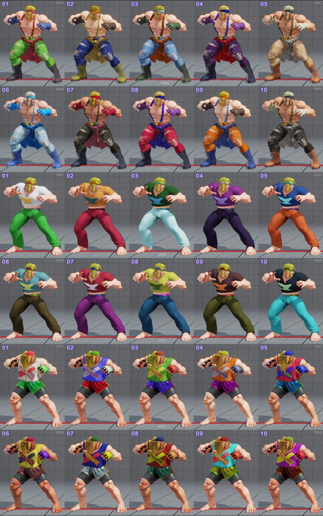 street fighter 5 costumes et couleurs 14