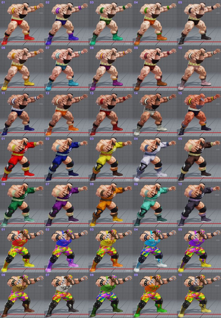 street fighter 5 costumes et couleurs 16
