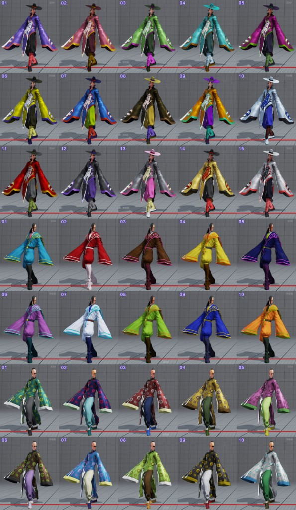 street fighter 5 costumes et couleurs 17
