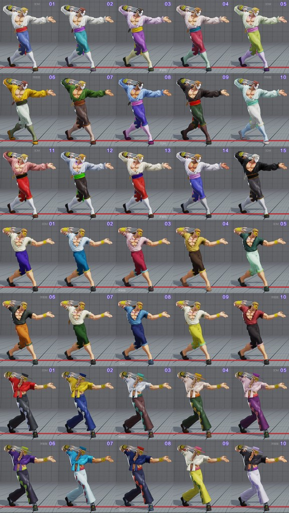 street fighter 5 costumes et couleurs 11