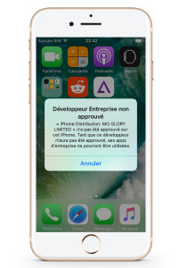 dev non autorise iPhone