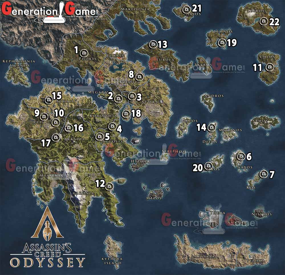 Assassin S Creed Odyssey Karte.Carte Des Tombeaux Assassins Creed Odyssey Generation Game