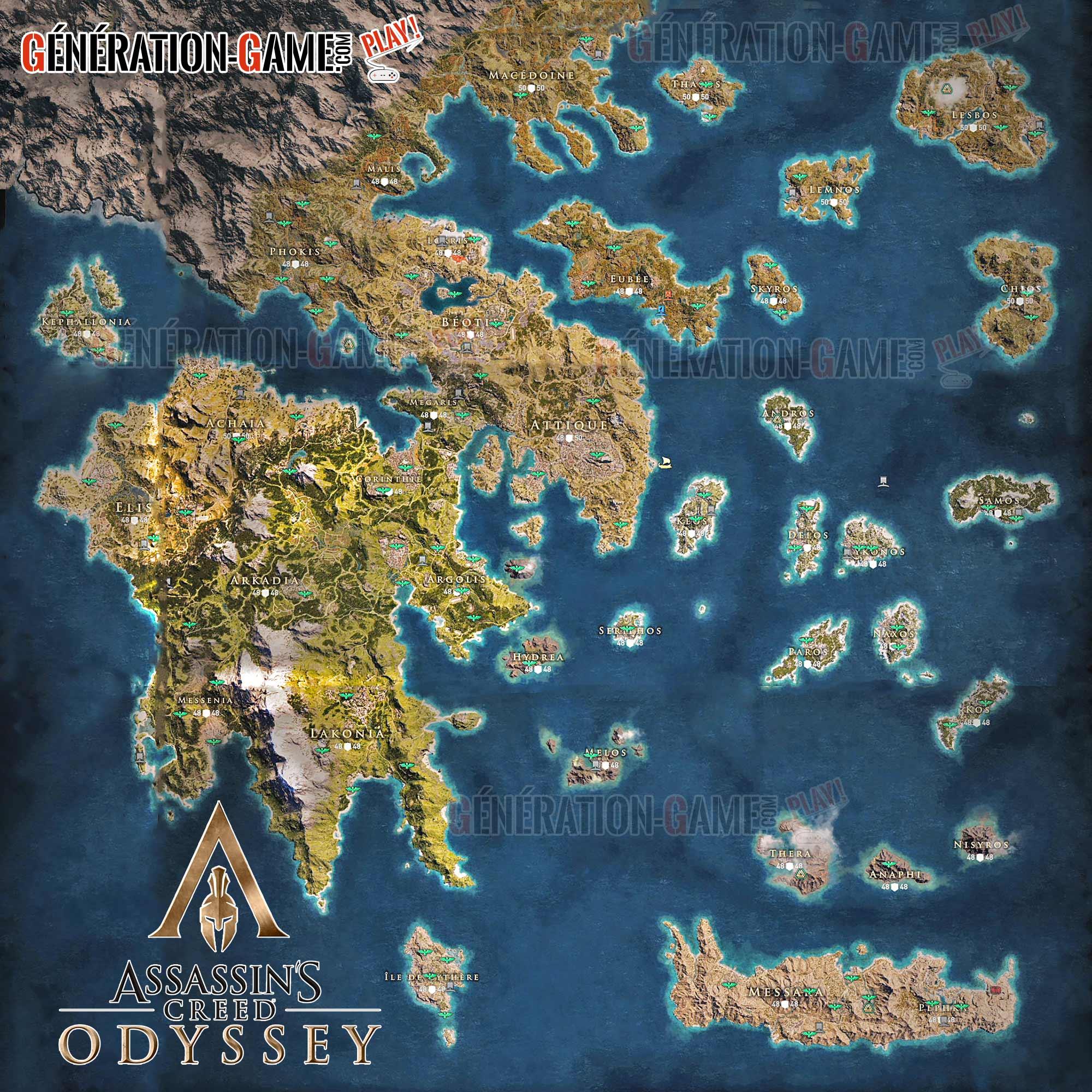 Wiki Assassin's Creed Odyssey la carte du monde entière et ...