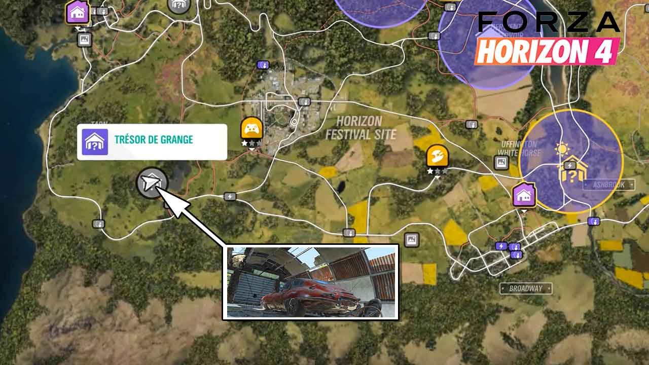 guide forza horizon 4 ou se trouve la jaguar e type s1 de 1961 tr sor de grange generation game. Black Bedroom Furniture Sets. Home Design Ideas