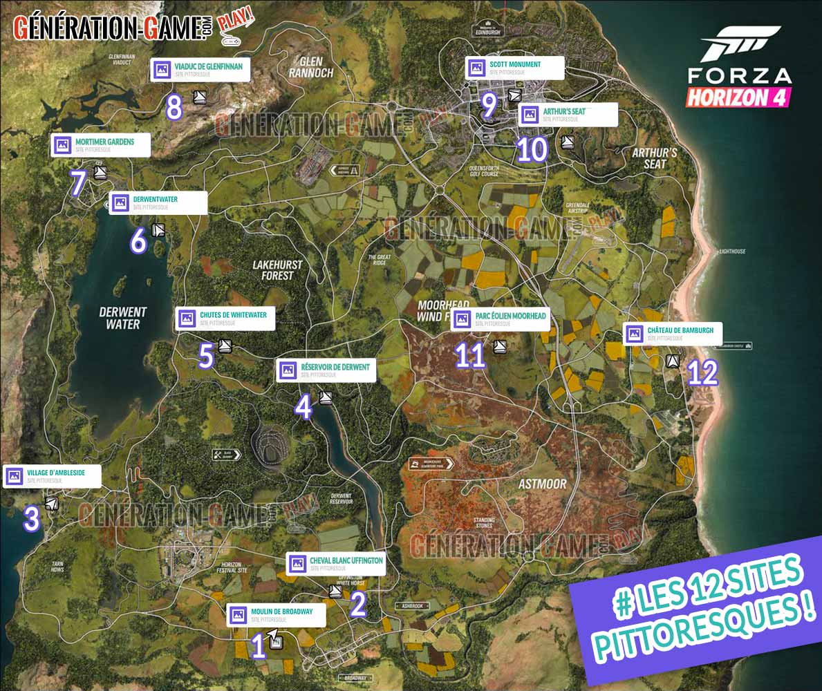 forza horizon 4 liste et emplacements de tous les sites pittoresques generation game. Black Bedroom Furniture Sets. Home Design Ideas