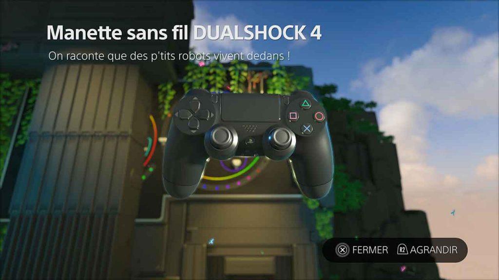 Astros-Playroom-PS5-trouver-artefact-4-manette-sans-fil-dualshock-4-jungle-du-GPU