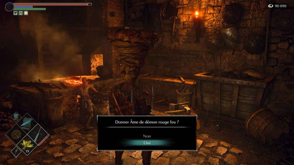 Demons-Souls-PS5-donner-ame-de-demon-rouge-feu-a-ed-le-forgeron