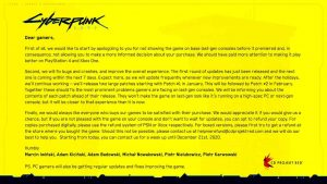 cyberpunk-2077-message-d-excuse-CD-Projekt-Red